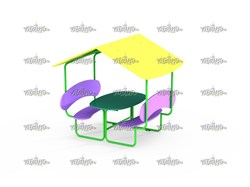 Столик со скамейками и навесом МФ 2.031-16 - фото 15697