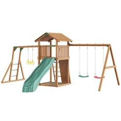 Детские городки Jungle Cottage + Rock +SwingModule Xtra + Рукоход с гимнастическими кольцами - фото 16294