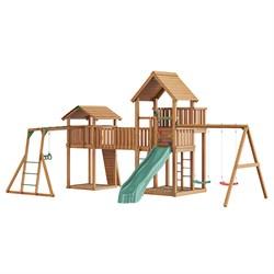Детский городок Jungle Palace + bridge Link + cottage(без горки) + swing + Rock + Рукоход с гимнастическими кольцами - фото 16317