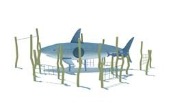 ДП 1.01 Акула с водорослями и рыбкой - фото 17349
