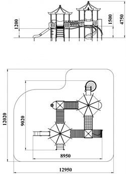 ДИК 4.184 Детский игровой комплекс Тибет с пластиковой горкой Н=1800 - фото 18020