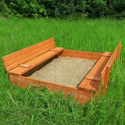 Песочница деревянная со складными лавочками - фото 8874