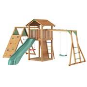 Детские городки Jungle Cottage + Climb Module Xtra + Рукоход с качелей+Rock